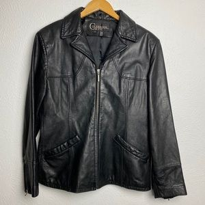 Colebrook & Co 100% Leather Collared Zip Up Jacket
